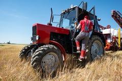 Roter Traktor auf dem Gebiet stockbilder