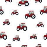 Roter Traktor des nahtlosen Musters auf weißem Hintergrund Landwirtschaftlicher Transport für Bauernhof in der flachen Art - vect Stockbilder