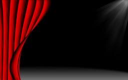 Roter Trennvorhang und die Stufe Stockfotografie