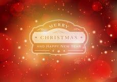 Roter Typografiehintergrund der frohen Weihnachten stock abbildung