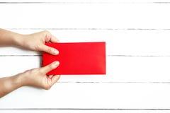 Roter Umschlag oder rotes Paket für Geschenke des Chinesischen Neujahrsfests Lizenzfreie Stockbilder