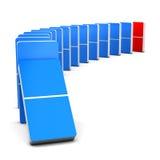 Roter und blauer Domino Stockfoto
