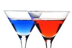Roter und blauer Martini Stockfoto