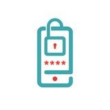 Roter und blauer Vektor des Smartphone-Verschlussschirmes Lizenzfreie Stockfotos