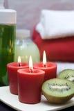 Roter und grüner Badekurort Stockbild