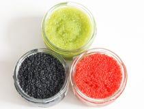 Roter und grüner und schwarzer Kaviar Lizenzfreie Stockfotografie