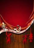 Roter und hölzerner Weihnachtshintergrund Stockfoto