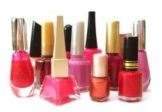 Roter und rosafarbener Nagellack Lizenzfreies Stockfoto