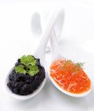 Roter und schwarzer Kaviar Lizenzfreie Stockbilder