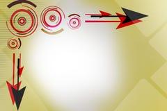 roter und schwarzer Pfeil und Kreise, abstrakter Hintergrund Stockfoto