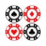 Roter und schwarzer Pokerspielchip-Vektorsatz Kasinozeichenmünzen Stockfoto