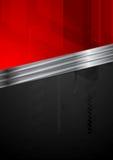 Roter und schwarzer Technologiehintergrund mit Metallstreifen Stockfoto