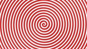 Roter und weißer hypnotischer Kreis Stockbild