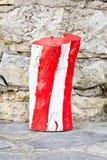 Roter und weißer Klotz Stockbild
