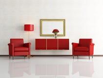 Roter und weißer moderner Innenraum Lizenzfreies Stockbild
