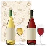 Roter und weißer Wein lizenzfreie abbildung
