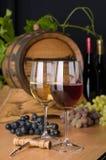 Roter und weißer Wein mit Trauben Lizenzfreies Stockbild