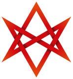 Roter Unicursal Hexagram 3D Stockfotografie