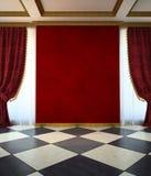 Roter unmöblierter Raum in der klassischen Art stock abbildung