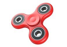 Roter Unruhefinger-Spinnerdruck, Angstentlastungsspielzeug 3D übertragen, lokalisiert auf weißem Hintergrund Lizenzfreie Stockbilder