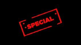 Roter unterzeichneter Gummitintenstempel Special summen herein laut und summen heraus mit Transparenzhintergründen des Alphakanal stock video