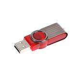 Roter USB-Stock- oder -blitz-Antrieb auf weißem Hintergrund Lizenzfreie Stockbilder
