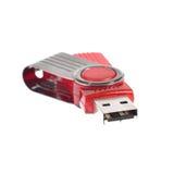Roter USB-Stock- oder -blitz-Antrieb lokalisiert auf weißem Hintergrund Stockfotografie