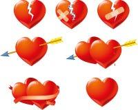 Roter Valentine Symbols Isolated auf weißem Hintergrund Stockfotografie