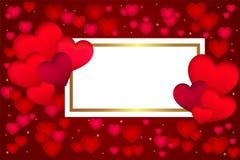 Roter Valentinsgruß \ 's-Tageshintergrund mit Herzen 3d auf Rot Auch im corel abgehobenen Betrag Nette Liebesfahne oder Gru?karte stock abbildung
