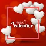 Roter Valentinsgrußrahmen mit weißem Herzballon Lizenzfreie Stockfotografie