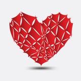 Roter Vektor des defekten Herzens, Herzikone, Logo, flache Ikone für Apps und Website, lieben Zeichen, Valentinsgrußsymbol, Polyg vektor abbildung