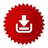 Roter Vektoraufkleber des Downloads Stockfotografie