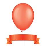 Roter Vektorballon und -band Lizenzfreies Stockfoto