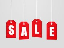 Roter Verkaufstagaufkleber Stockfotos