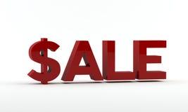 Roter Verkaufstext in 3D - Dollarzeichen Lizenzfreie Stockfotografie