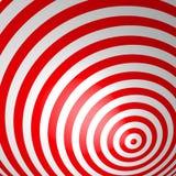 Roter volumetrischer gestreifter Hintergrund Konzentrische Kreise Gewundene Tapete des Rotes und des Weiß Getrimmt, Ränder nicht  Lizenzfreies Stockfoto