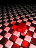 Roter Würfel alleine über vielen Schwarzweiss-Würfeln Lizenzfreies Stockbild