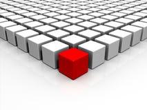 roter Würfel der Individualität-3D Stockfotos