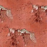 Roter Wandputz knackt nahtlosen Hintergrund der Farbe Stockbild
