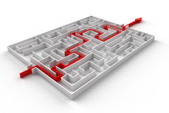 Roter Weg über Labyrinth Stock Abbildung