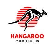 Roter weißer Hintergrund des Kängurus Stockfotos