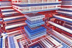Roter, weißer und blauer Fractal lizenzfreie stockfotografie
