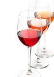 Roter, weißer und rosafarbener Wein Lizenzfreie Stockfotografie