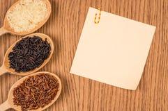 Roter, weißer und schwarzer Reis in einem hölzernen Löffel Lizenzfreie Stockfotografie