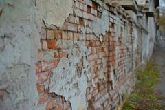 Roter weißer Wand Hintergrund Alte Grungy Backsteinmauer-horizontale Beschaffenheit Brickwall-Hintergrund Stonewall-Tapete Weinle Stockfoto