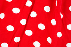 Roter weißer Dots Fabric Wrinkled Lizenzfreies Stockfoto