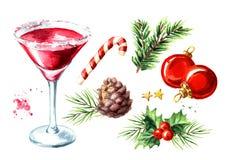 Roter Weihnachts-Martini-Cocktailelementsatz Gezeichnete Illustration des Aquarells Hand, lokalisiert auf weißem Hintergrund vektor abbildung