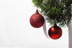 Roter Weihnachtsball, der am Kiefernbaumblatt auf Weiß hängt Stockbild