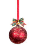 Roter Weihnachtsball mit Golddekoration Stockbilder