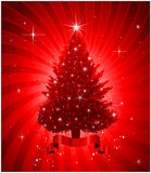 Roter Weihnachtsbaumhintergrund Stockfotos
